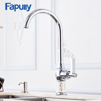Kitchen Faucet Deck Mounted Oil Rubbed Bronze White Porcelain Body Black Brass 360 Degree Swivel Taps