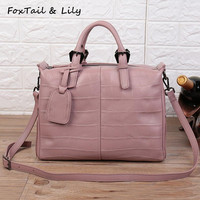FoxTail Lily Crocodile Pattern Genuine Leather Handbags Women Shoulder Bag Real Leather Designer Crossbody Bags High
