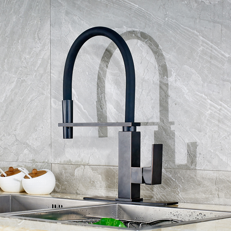 Traditional Oil Rubbed Bronze Solid Brass Kitchen Sink Faucet Pull Out Swivel Spout Mixer Tap with