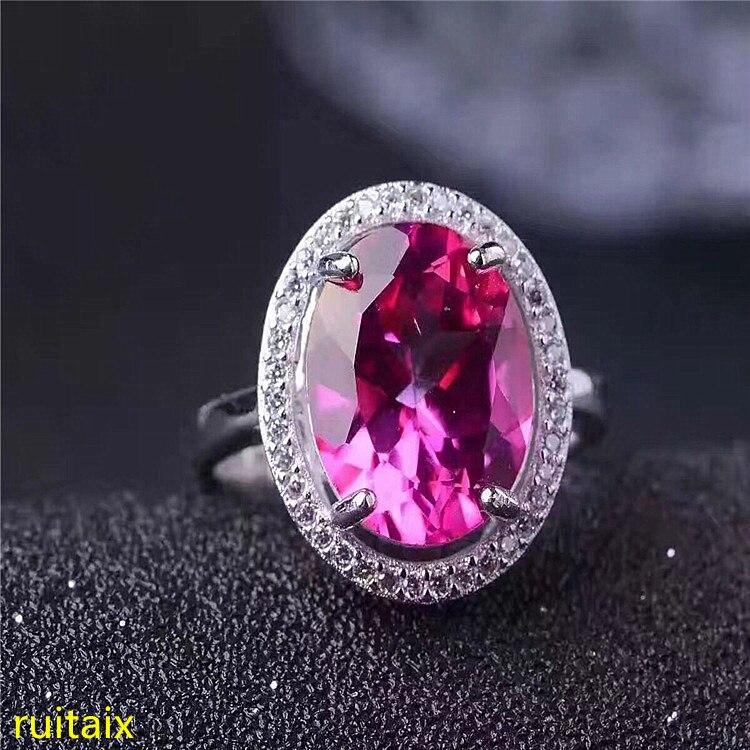 KJJEAXCMY bijoux fins 925 argent Sterling incrusté de bague topaze rose bijoux ouverture couleur or et argent.