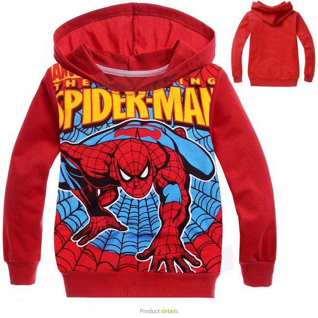 2016 Autumn Fashion Cartoon Children Red Spider Man Terry font b Hoodie b font Coat Children