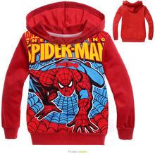 2016 Autumn Fashion Cartoon Children Red Spider Man Terry Hoodie Coat Children Health