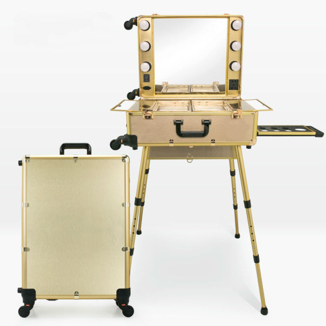 Rolling Studio Wheeled Trolley Makeup Artist Case Lighted Station Table  Beauty Box 2017 6 Colors Large