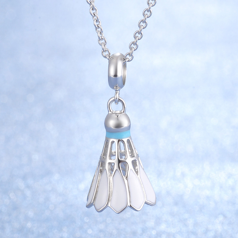 Good Quality Popular Noble OL Style White Enamel 925 Genuine Silver Badminton Pendant Necklace