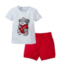 New 2 PCS Baby Kids Tops+Pants Heart Bear Pattern Outfits Set Clothes 0-3 Year XL063