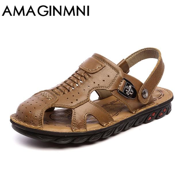 374d8e0e8c7 Amaginmni para hombre sandalias de cuero genuino verano 2018 nueva playa  hombres zapatos casual sandalias al