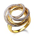 Nice Design Women Engement Rings Deluxe Cubic Zirconia  Gold Plated Bridal Wedding Jewelry
