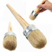 Wooden Handle 50mm Dia Round Bristle Chalk Oil Paint Painting Wax Brush Artist 1 pcs(China)
