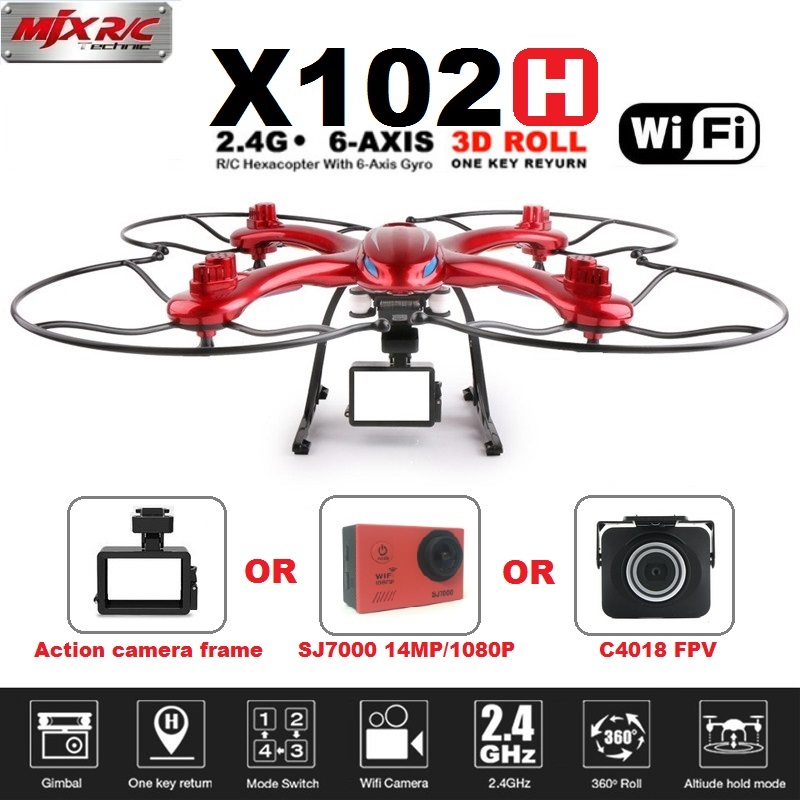 MJX X102H RC Drone With C4018&SJ7000 14MP 1080P Full HD WiFi Camera FPV Quadcopter Support Gopro/SJCAM/XIAOYI One Key Return mjx x102h rc drone quadcopter with profession c4018 c4015 wifi fpv hd camera one key return remote control helicopter toys