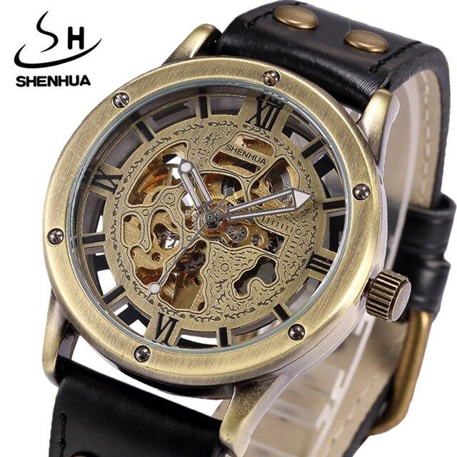 3bd880a3370 Shenhua reloj mecánico automático hombres transparente esqueleto negro  correa de cuero hombres relojes reloj Relogio Masculino