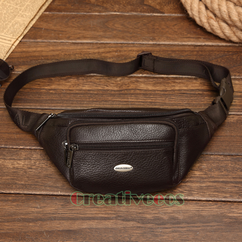 2016 New Men Genuine Leather Cowhide Vintage Travel Cell Mobile Sling Chest Belt Pouch Fanny Pack