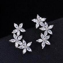 DOKOL New Trendy Clear Crystal Earrings 5pcs AAA CZ Stone Cute Flower Women Earrings For Party Wholesale DKE0005