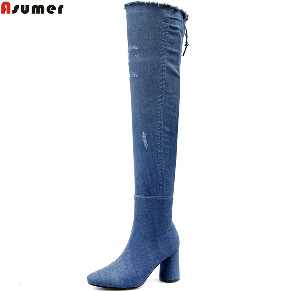 купить ASUMER big size 33-43 fahsion new arrive women boots round toe zipper denim ladies boots high heel blue sexy over th knee boots онлайн