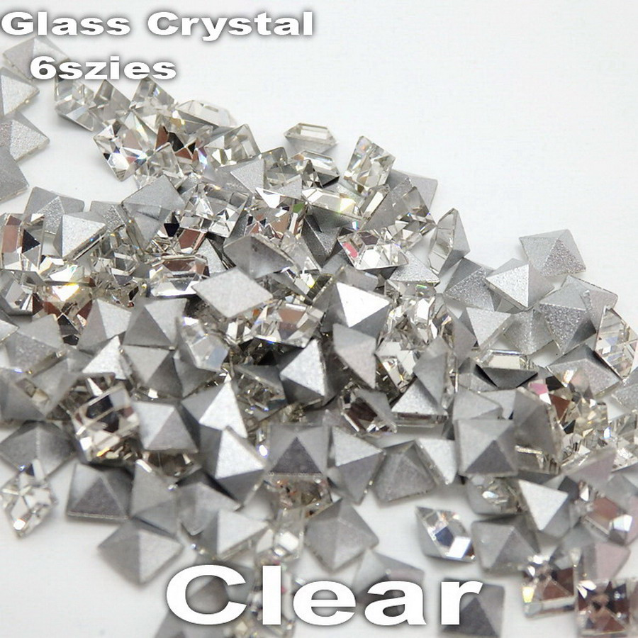Super shinning 2mm-8mm 6 sizes  Clear Crystal Glue on Pyramid point Back square Glass Rhinestones for Nail Arts Jewelry making