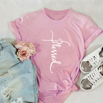 Plus Size S-5XL Fashion BLESSED Letter Print T Shirt Women Shirts 100% Cotton O Neck Short Sleeve Summer T-Shirt Tops Tshirt Blouses & Shirts