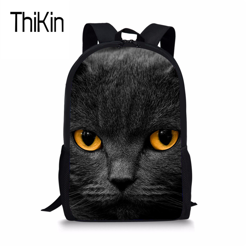 THIKIN Black Cat Print Schoolbag For Kids Boys Girls Cool School Backpacks Children Fashion Satchel Womens Casual College Pack