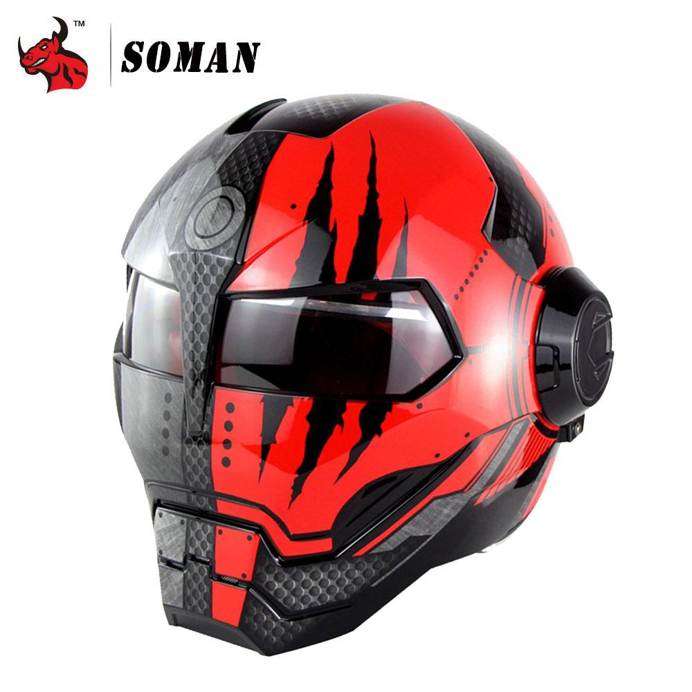 товар Soman Motorcycle Helmet Iron Man Helmet Motorbike Capacetes
