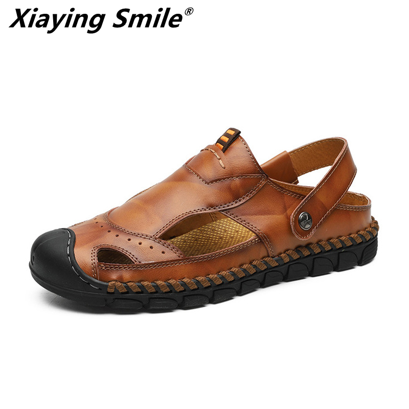2019 Hot Sale Summer cow leather shoes Men Outdoor Casual Flats Sandals Fashion Beach Shoes Cheap