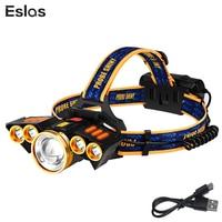 Eslas 5 LEDs Headlamp 4 Modes Zoom T6 Head Flashlight Torch Sensor USB Rechargeable Forehead Lamp For Camping Fishing Headlight