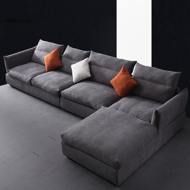 Simple and modern Nordic cloth sofa combination corner size apartment living room fitted latex sofa corner sofa