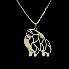 Золото и серебро 1 шт. подвеска с изображением померанского шпица вырезанная изящная подвеска щенок собака любовные памятные ожерелья домашних животных Подвески Женские Подвески