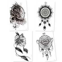 4pcs Black Wolf with Feather Dreamcatcher Tattoos Lion Owl Cool Beauty Arm Big Tatoo Waterproof Temporary Tattoo Stickers Men