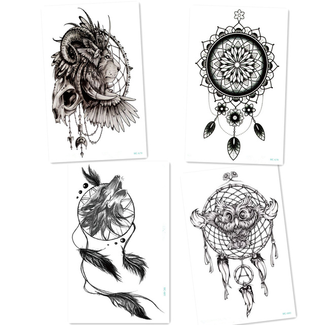 4pcs Black Wolf With Feather Dreamcatcher Tattoos Lion Owl Cool