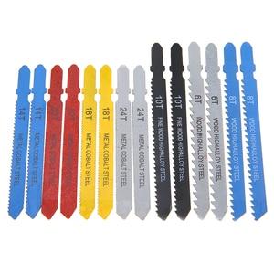 Image 3 - O t punho curvado de 14 pces viu as lâminas sortidas de aço do metal t shank jigsaw blade ajustou o encaixe para o dente reforçado de madeira plástica