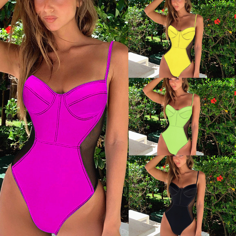 Mesh Patchwork Swimwear One Piece Swimsuit Backless Monokini New Vintage Push Up Beachwear Bathing Suit Summer One-Piece Suits