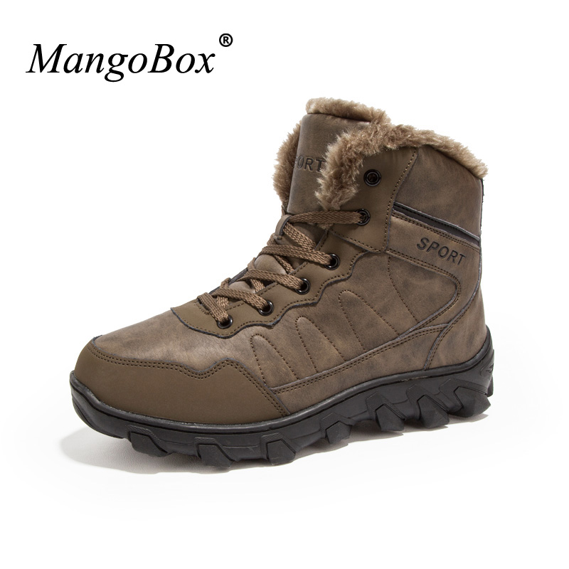 Mangobox Shoes Outdoor Men Snow Sport font b Boots b font Men Brown Black Shoes Big