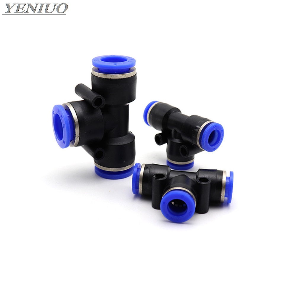 "PE"" 3 Way T shaped Tee Pneumatic 4mm to 16mm OD Hose Tube Push In Air Gas Fitting Quick Fittings Connector Adapters"