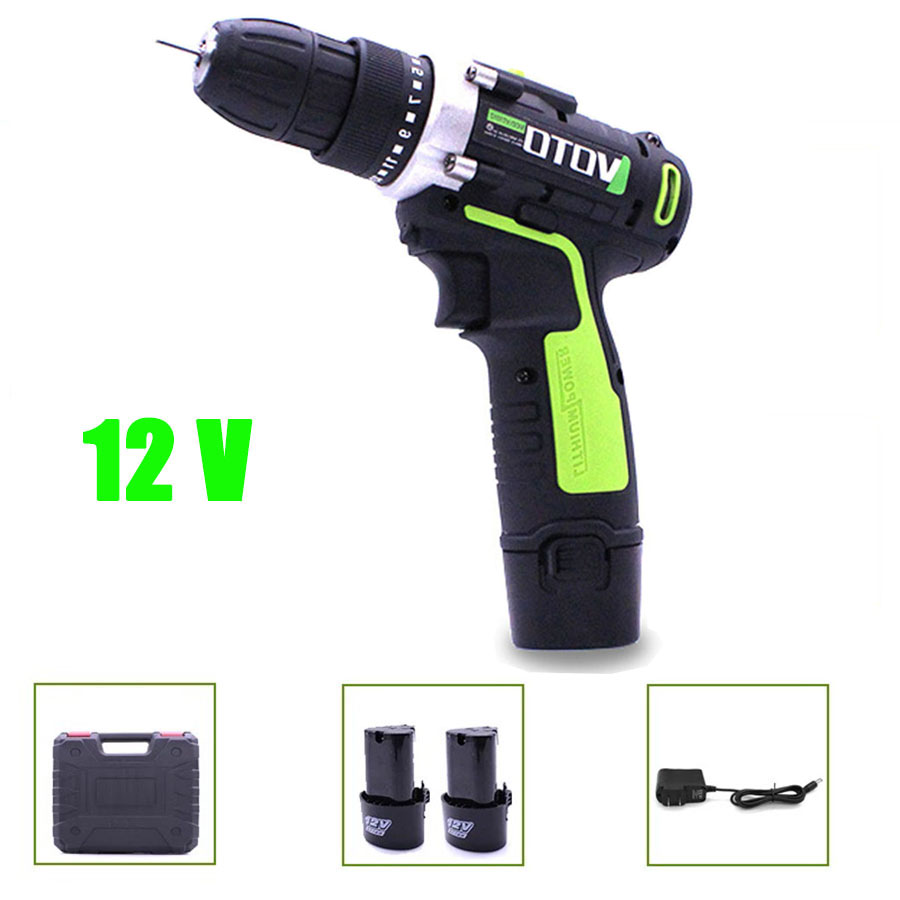VOTO 2*Battery Rechargeable Cordless Drill Electric Screwdriver Set Lithium Power Tools Screw Gun VT Driver Green Case 12V 2018 цены онлайн