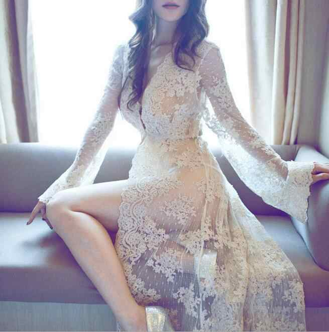 Europe and United States court sexy delicate with the long lace cardigan photo robe nightgown lady's dress