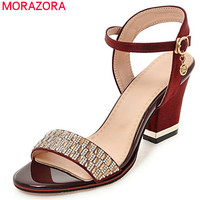 MORAZORA 2019 plus size 33 43 women sandals simple buckle fashion crystal summer shoes casual square high heels shoes woman red