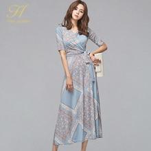 H Han queen, винтажное летнее платье с v-образным вырезом, с принтом, для женщин, OL, бандаж, ТРАПЕЦИЕВИДНОЕ, свободное платье, новинка, длиной до лодыжки, с геометрическим рисунком, Boho Vestidos
