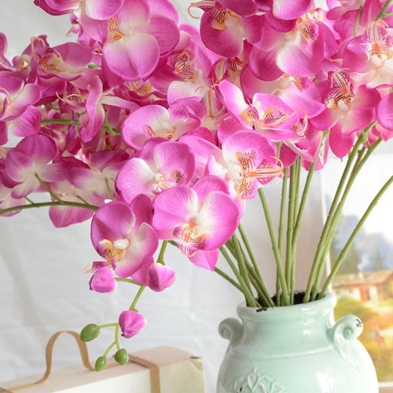 Wreaths Home Decor Artificial Butterfly Orchid Flower Plant Fuchsia Wedding Decorative Flowers