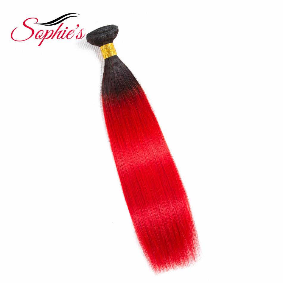 Sophie's Peruvian Human Hair Ombre Hair Bundles T1b/Red Color Straight Hair Bundles 1 Pc Deals Non Remy Hair Extension
