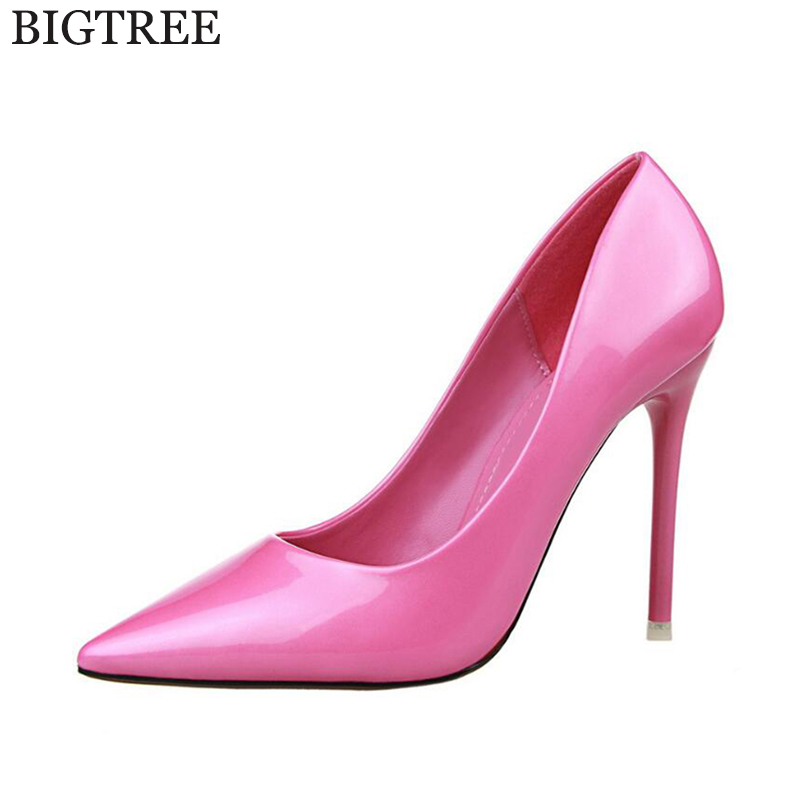 BIGTREE Wedding shoes Women Office Pumps Elegant Ladies Solid Shallow Mouth Round Toe Patent Leather High Heel Shoes k140