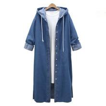 3d473035b6 2018 ZANZEA Mulheres Hoodies Casual Plus Size L-5XL Casacos Com Capuz Solto  Outono Inverno Outwear Luva Cheia Denim Azul Longo J..