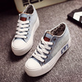 Denim Women Hole Ripped Vintage Spring 2016 Summer Canvas Shoes Female Platform Lace-Up Students Casual Women Shoes