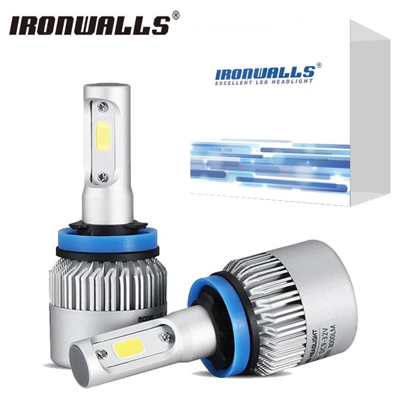 Ironwalls H4 H7 H11 H13 9005 HB4 9006 9012 H1 H3 Car Led Headlight Bulbs Auto Fog Light Headlamp COB 72W 8000LM 6500K 12V 24V  h1 h3 h7 h11 880 9005 9006 h4 cob led car headlight bulbs auto led headlamp 6000k fog lights drl auto headlamp 12v 24v