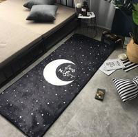 INS Fashion Super Soft Flannel Moon And Star Rug Bedside Carpet Soft Living Room Carpet Play