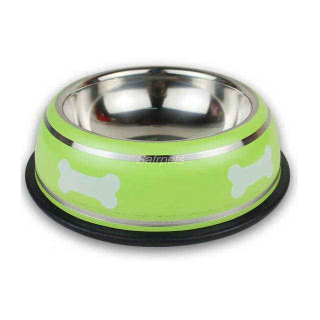 Stainless Steel Dog Bowl Anti Slip Pet Feeder Puppy Cat Food Drink Water Dish With Bone Printed Red Green Black