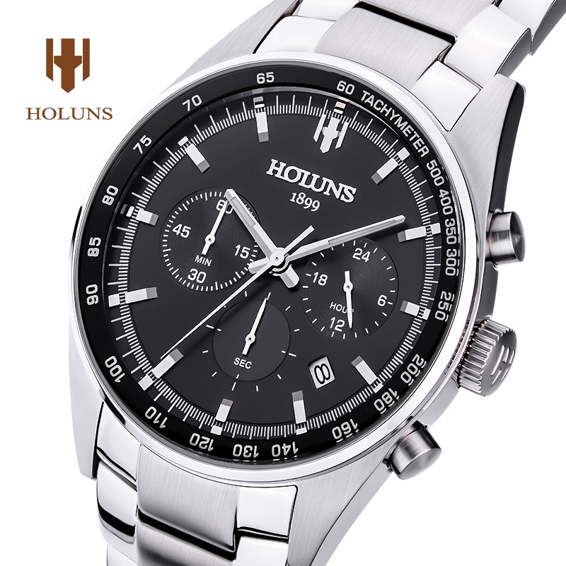 Luxury  HOLUNS watch men sapphire glass waterproof  date silver stainless steel Chronograph Quartz watchl relogio masculine