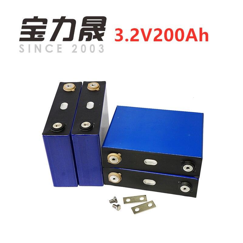 4 pcs/lot Cycle profond prismatique 3.2 V 200AH 3C LiFePO4 batterie pour énergie solaire longue durée 3500 Cycles pour système d'alimentation UPS alimentation