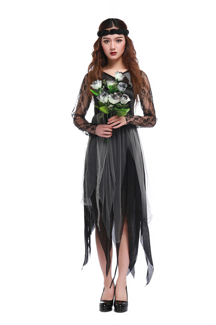 Us 21 24 15 Off Women Halloween Party Ghost Bride Dress Gothic Zombie Vampire Wedding Cosplay Costume Black Lace Long Sleeve Irregular Dress In