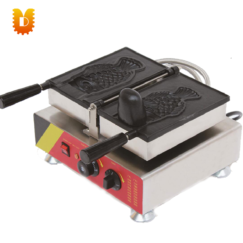 korea single ice cream taiyaki machine fish waffle maker chinese single round pan rolled ice cream machine fried ice cream roll machine with 6 barrels