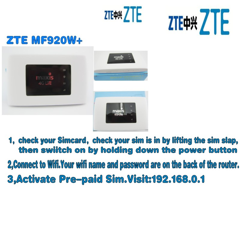 UNLOCKED ZTE MF920 MF920w 4G FDD/TDD-LTE Wifi Router Max Up 32 Devices LED
