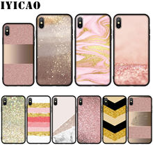 Gold Pink rose Glitter Dust love Silicone Soft Case for iPhone 11 Pro Max XR X XS Max 8 7 6 6S Plus 5 5S SE Cover(China)