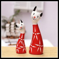 Wood Cat Statue Home Decoration Accessories 2 Pieces/set Wooden Handmade Crafts Animal Figurines ElimElim
